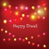 Glowing Decorative Background for Diwali with colorful lights. Vector illustration.