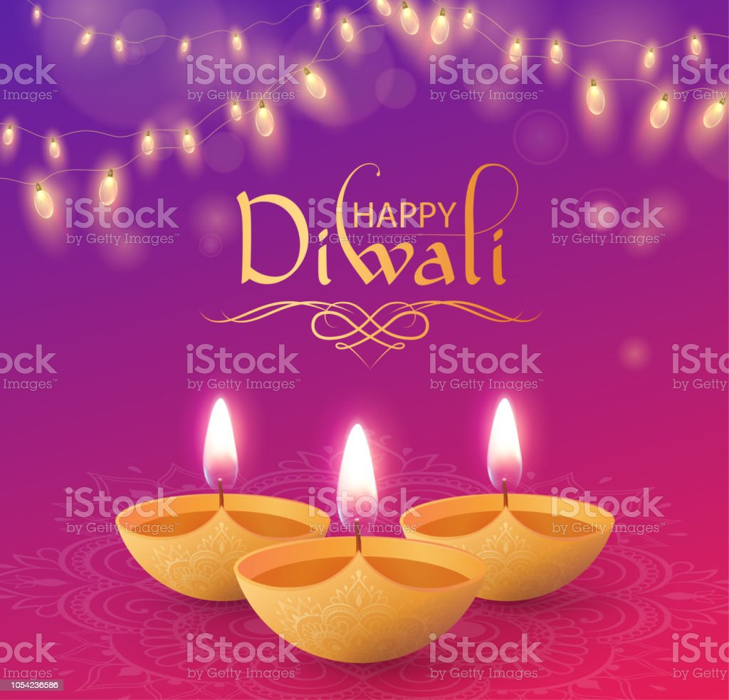 Happy Diwali Greeting Card With Oil Lamps And Decorative Lanterns