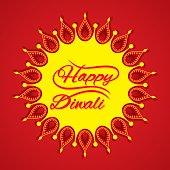 Beautiful Happy Diwali greeting design with diya arrange in circle