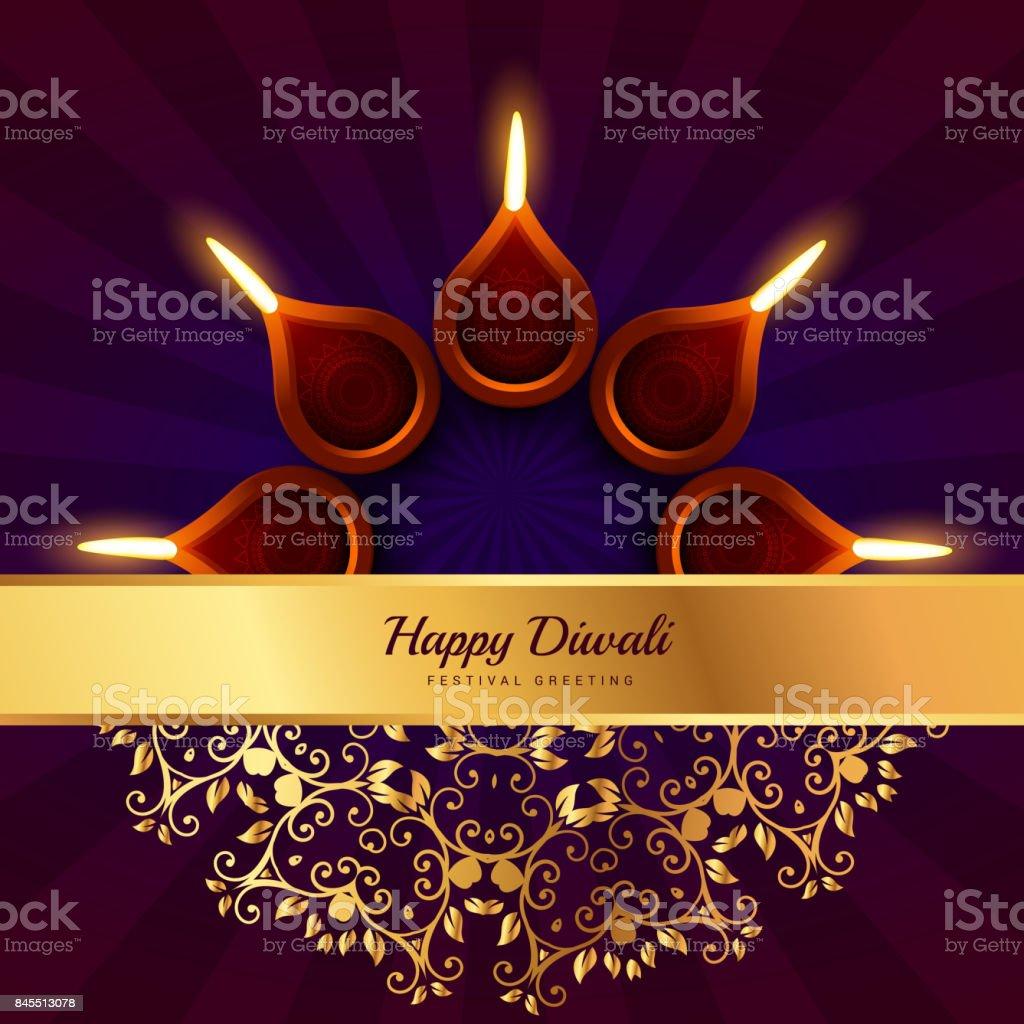 Happy Diwali Greeting Vector Design Background Stock Vector Art