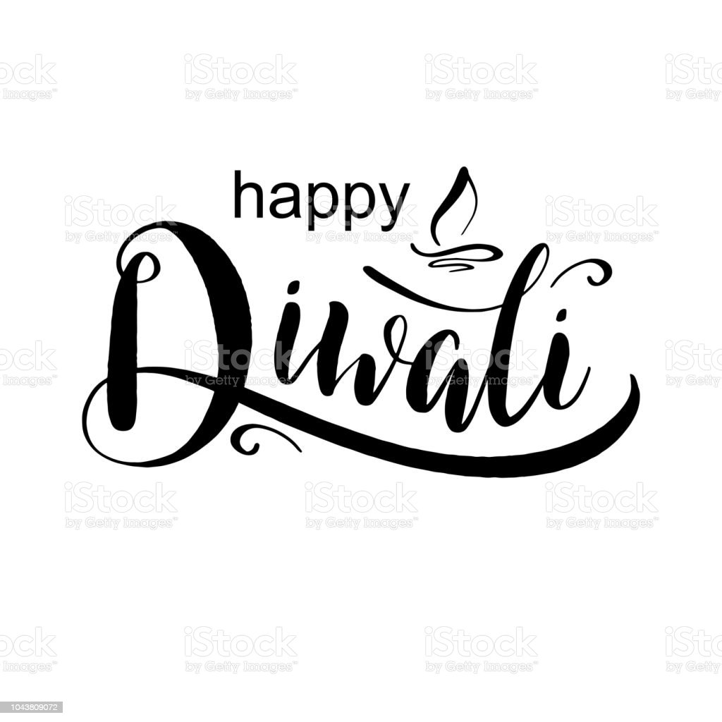 Happy Diwali Hand Written Ink Lettering With Abstract Lamp