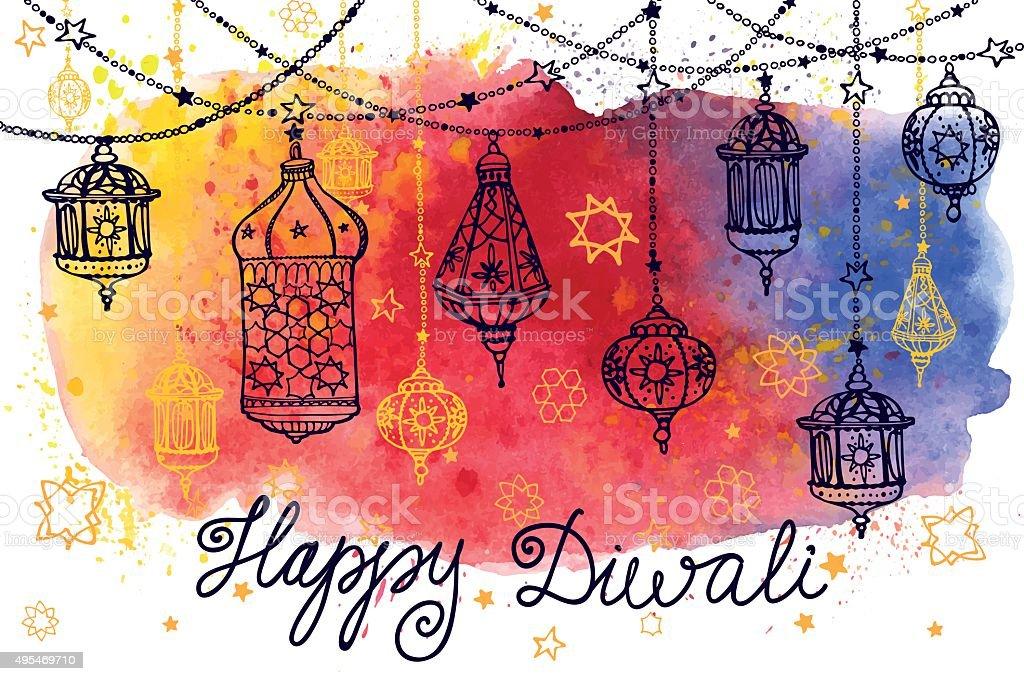 Happy Diwali hanging lamps and Watercolor splash vector art illustration