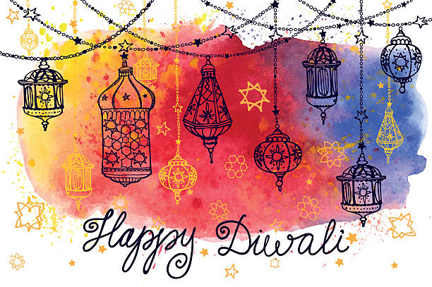 happy diwali hanging lamps and watercolor splash - diwali stock illustrations, clip art, cartoons, & icons