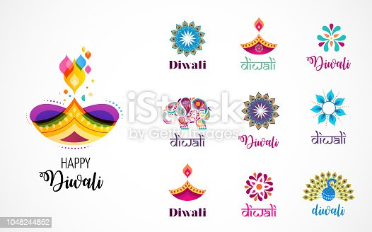 Happy Diwali Hindu festival icons, graphic elements, logo set. Burning diya illustration, light festival of India