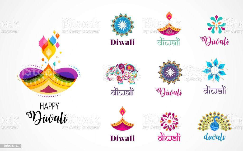 Joyeux Diwali hindoue festivals icônes, éléments, logo ensemble. Gravure illustration diya, fête des lumières de l'Inde - Illustration vectorielle