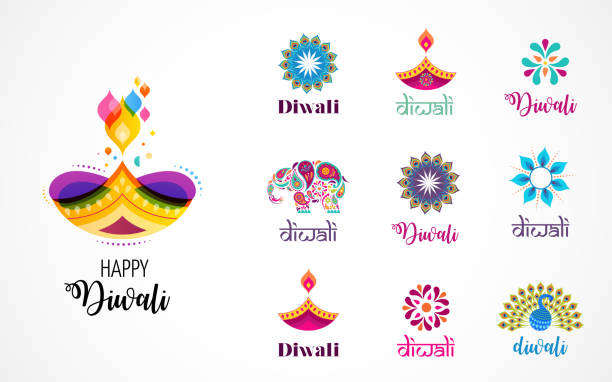 happy diwali hindu festival icons, elements, logo set. burning diya illustration, light festival of india - diwali stock illustrations, clip art, cartoons, & icons