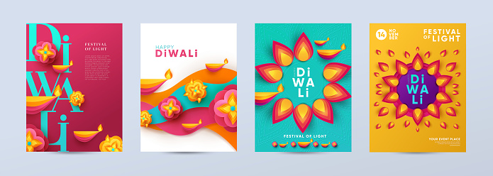 Happy Diwali Hindu festival modern design set in paper cut style with oil lamps on colorful waves and beautiful flowers of lights.