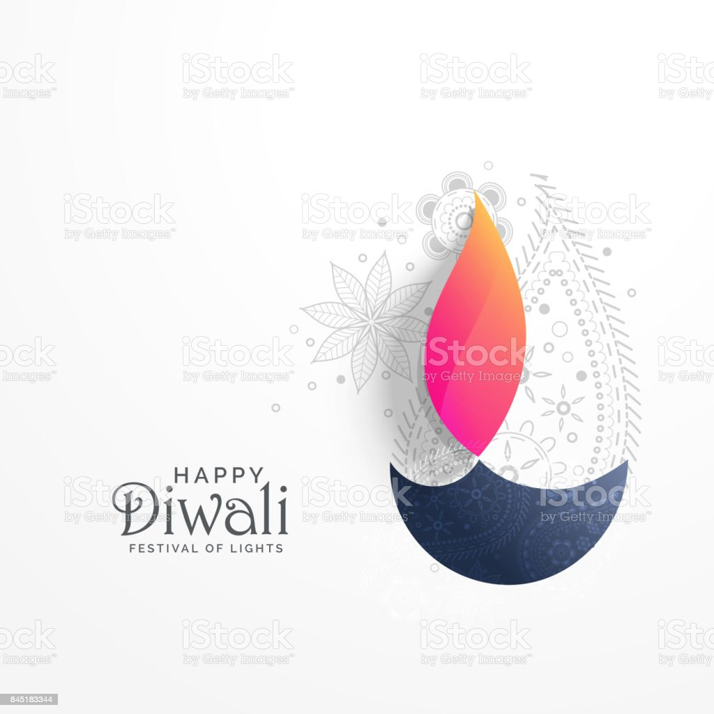 happy diwali holiday greeting card with paisley decoration and diya background vector art illustration