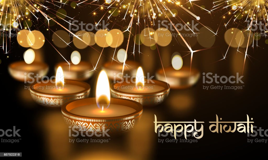 Happy Diwali Indian candle lights festival holiday vector greeting card sanskrit text vector art illustration