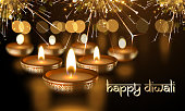 Happy Diwali Indian candle lights festival holiday vector greeting card sanskrit text
