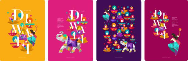 stockillustraties, clipart, cartoons en iconen met gelukkig diwali. indiase festival van lichten. vector abstracte platte illustratie voor de vakantie, lichten, olifant, indiase vrouw en andere objecten voor achtergrond of poster. - indiase cultuur