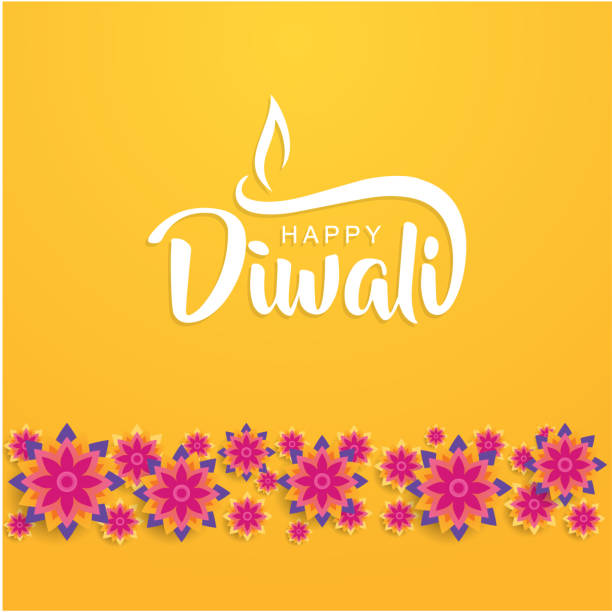 happy diwali lettering with flower - diwali stock illustrations