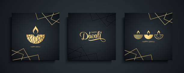 happy diwali luxury greeting cards set. india festival of lights holiday invitations templates collection with hand drawn lettering and gold diya lamps. - diwali stock illustrations