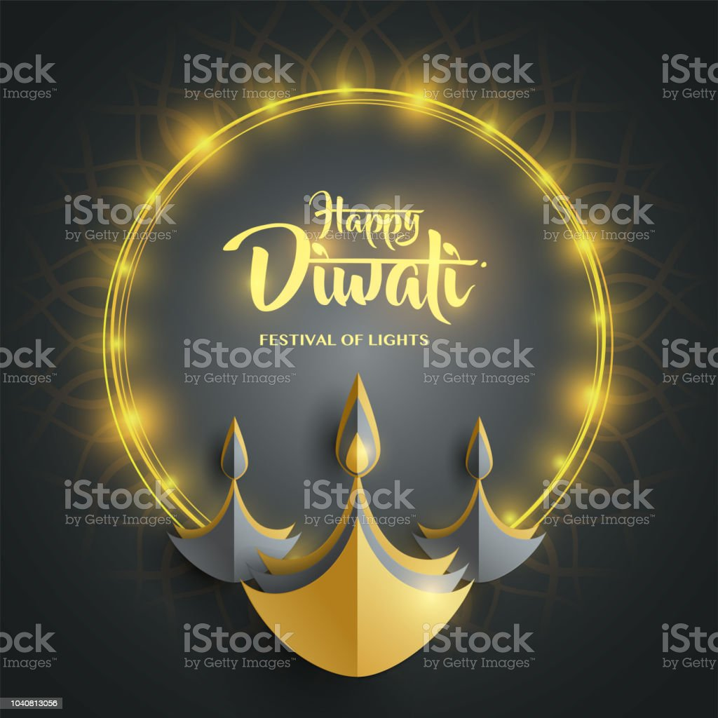 Joyeux Diwali Papier Graphique Des Indiens Diya Huile Lampe Design