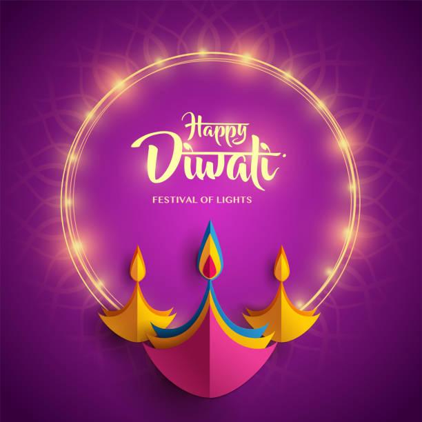 happy diwali. paper graphic of indian diya oil lamp design. indian festival of lights. - diwali stock illustrations