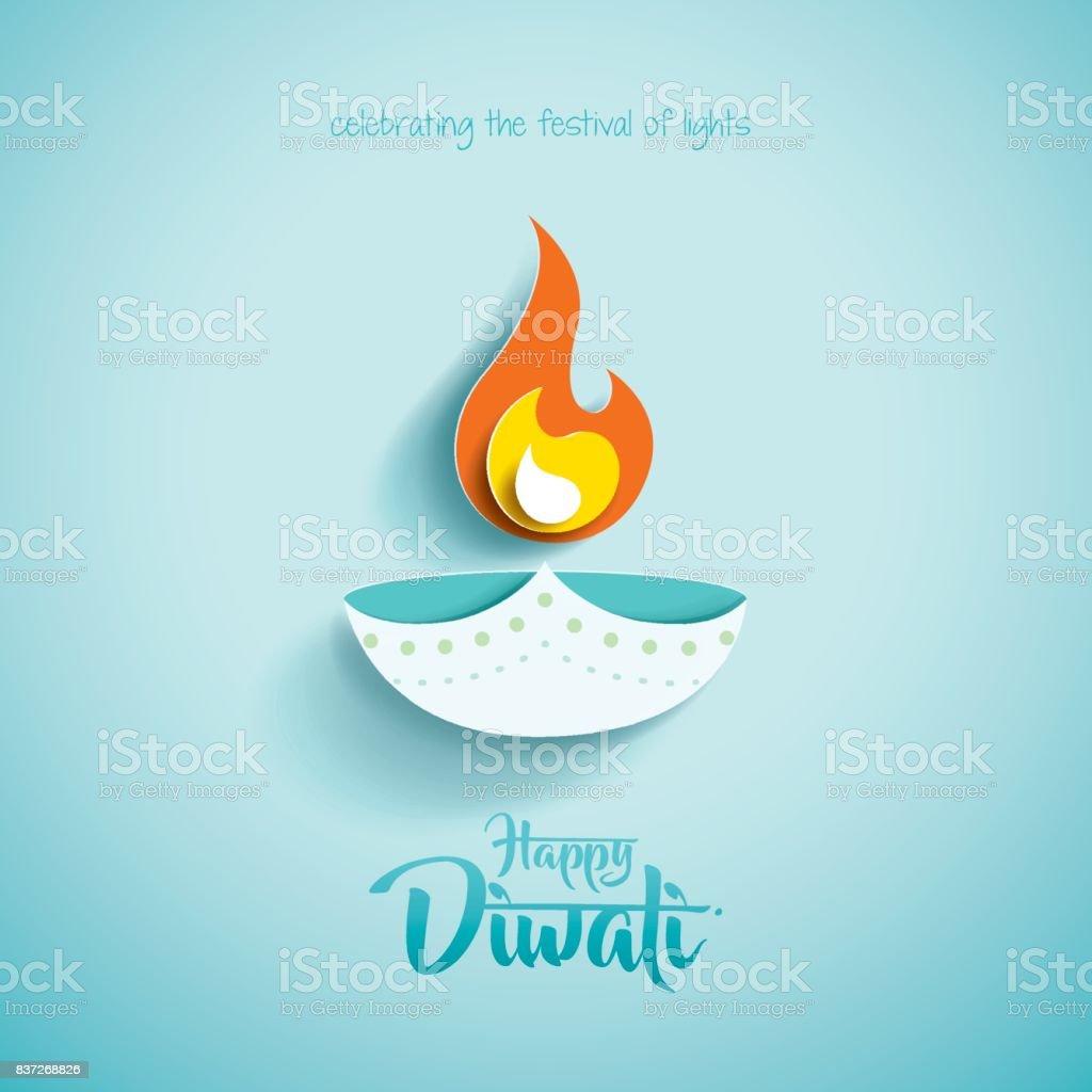 Happy Diwali. Paper Graphic of Indian Diya Oil Lamp Design vector art illustration