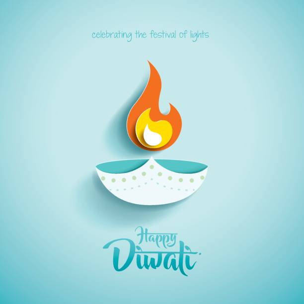 happy diwali. paper graphic of indian diya oil lamp design - diwali stock illustrations, clip art, cartoons, & icons