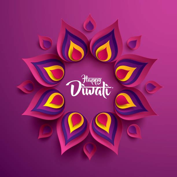 happy diwali. paper graphic of indian rangoli. - diwali stock illustrations, clip art, cartoons, & icons