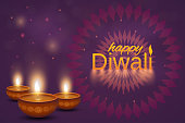 Happy Diwali poster or background. Shiny oil lamps diya with mandala. Abstract background. Vector illustration. EPS10