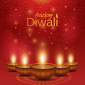 Happy Diwali poster. Shiny oil lamps diya on abstract background. Vector illustration. EPS10