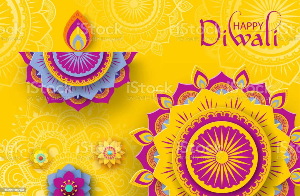 Happy Diwali Poster With Traditional Mandala Pattern Stock Vector