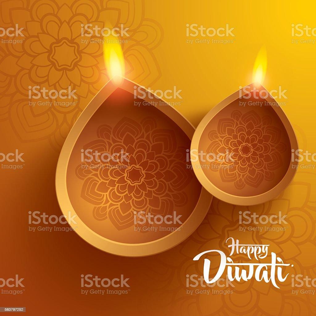 happy diwali. traditional indian diya oil lamp. vector art illustration