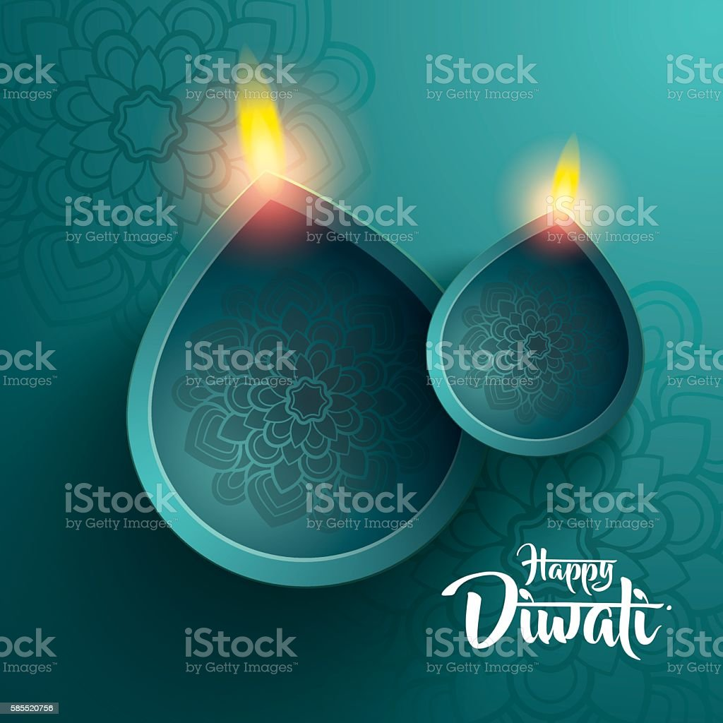 happy diwali. traditional indian diya oil lamp. vector art illustration