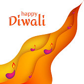 Happy Diwali Traditional Indian Festival Background with Burning Lamps Shining Diya Creative design banner for national cultural indian festival diya lights diwali in india fiery holiday theme Vector
