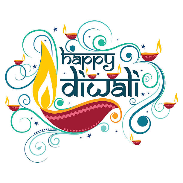 happy diwali typography in calligraphy style for festival of india - diwali stock illustrations, clip art, cartoons, & icons