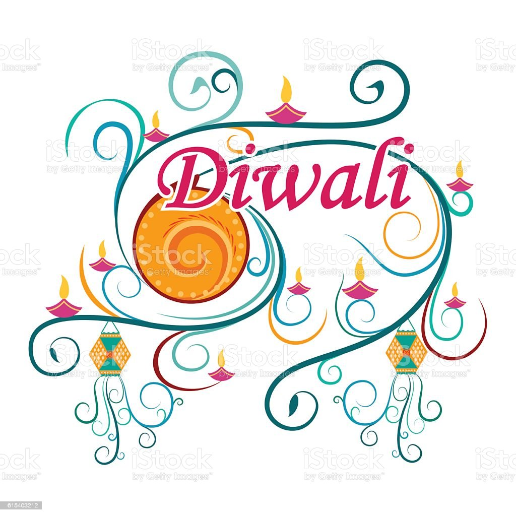 Happy diwali typography in calligraphy style for festival