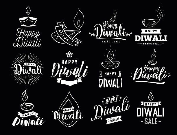 happy diwali typogrpahy - diwali stock illustrations, clip art, cartoons, & icons