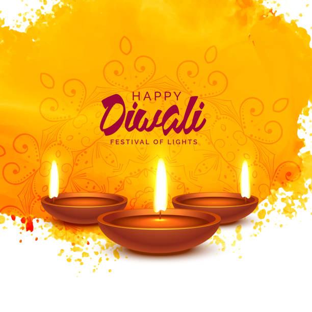 happy diwali vector background with orange watercolor - diwali stock illustrations