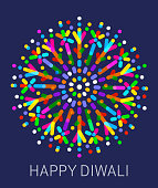 Happy Diwali message with firework graphic