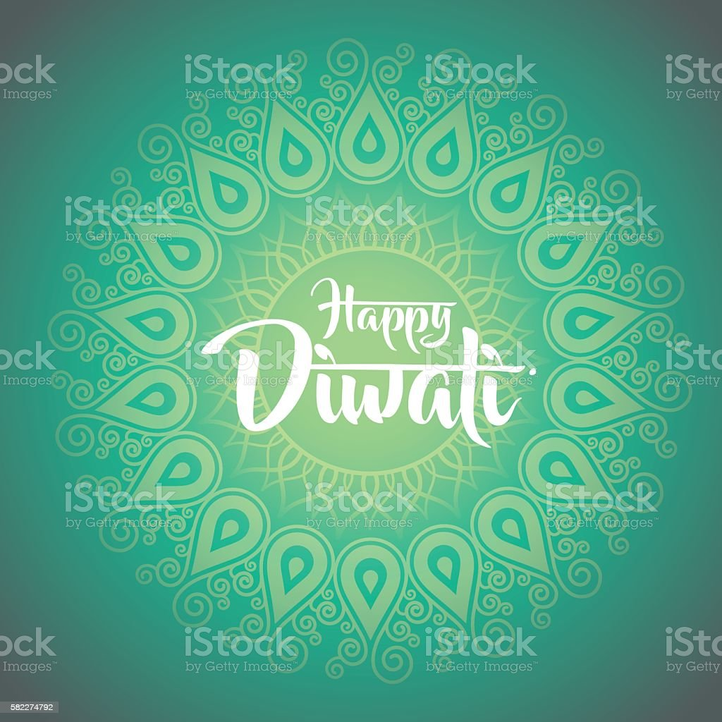 happy diwali with ornament of henna vector art illustration