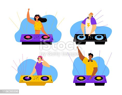 istock Happy Dj Male and Female Characters Set. Men and Women with Headphones Playing and Mixing Music at Night Club Disco Party. Fun, Youth, Entertainment and Fest Concept. Cartoon Flat Vector Illustration 1156265356