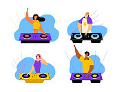 Happy Dj Male and Female Characters Set. Men and Women with Headphones Playing and Mixing Music at Night Club Disco Party. Fun, Youth, Entertainment and Fest Concept. Cartoon Flat Vector Illustration