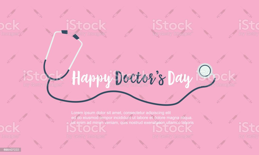 Happy doctor day background card style vector art