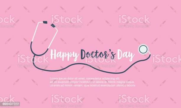 Szczęśliwy Lekarz Dzień Tła Karty Styl Wektor Sztuki - Stockowe grafiki wektorowe i więcej obrazów Czerwony