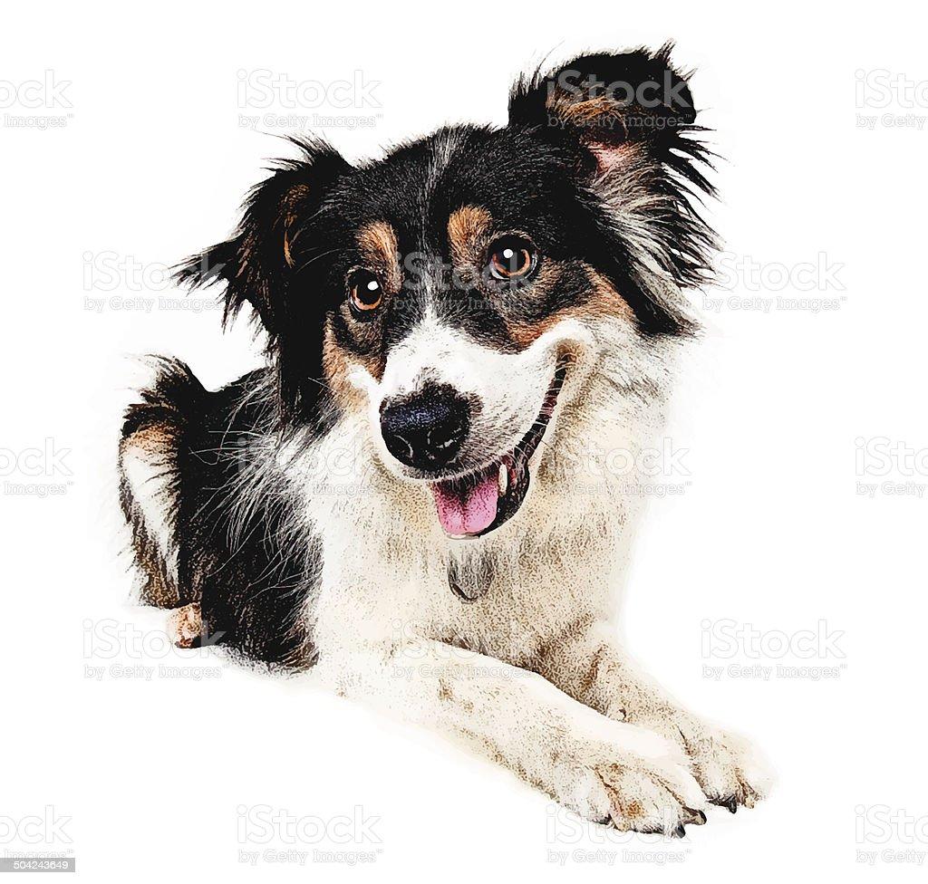 Happy Dog Cutout vector art illustration