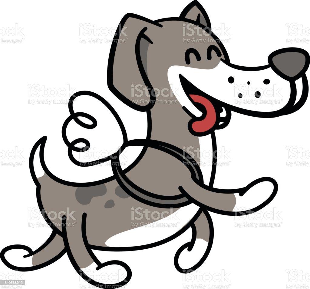 Ilustración de Perro Feliz Vuela En Las Alas Ilustración Para ...