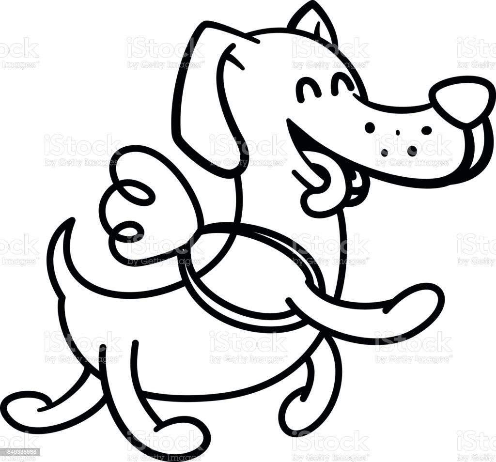 Ilustración De Perro Feliz Vuela En Las Alas Ilustración