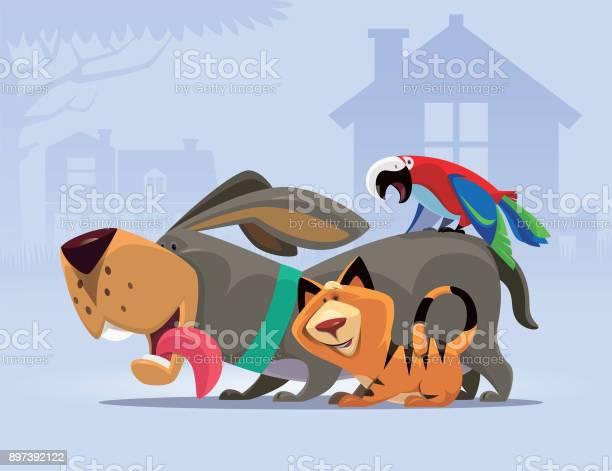 Happy dog gathering with cat and parrot vector id897392122?b=1&k=6&m=897392122&s=612x612&h=ne lf3plzxazunx0hzusv ptobnxmmmqmblp2mg0vse=