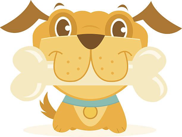 happy dog with bone - dog treats stock illustrations