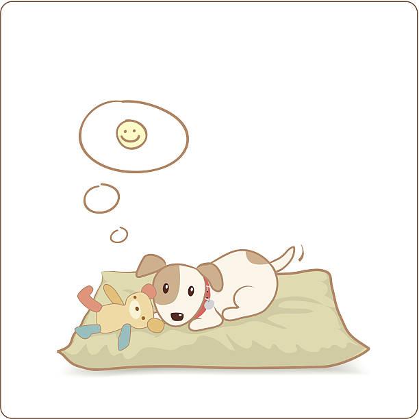 glücklich hund mit seinem spielzeug auf dem bett - hundebetten stock-grafiken, -clipart, -cartoons und -symbole