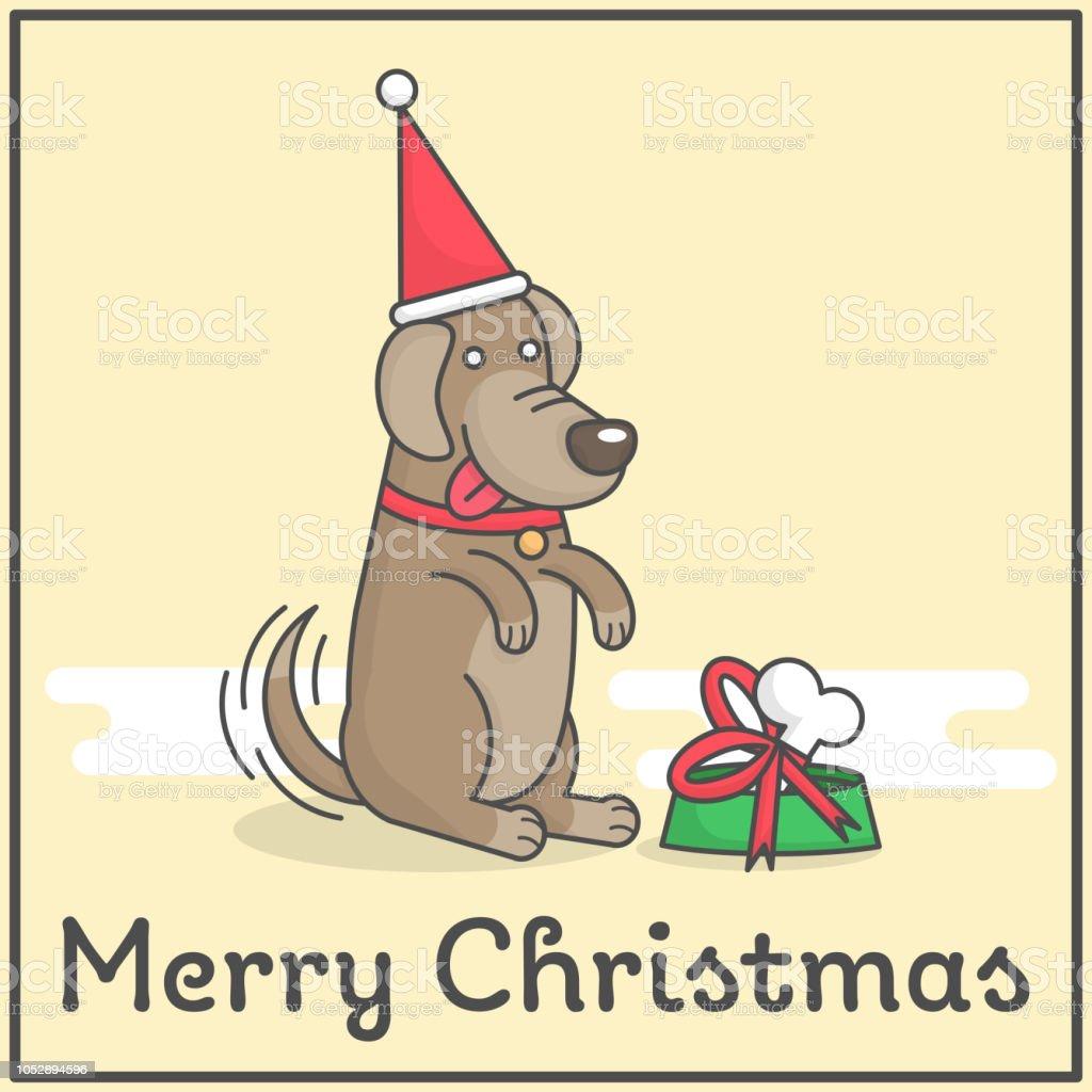 Glücklicher Hund Mit Frohe Weihnachten Geschenk Im Niedlichen Flach ...