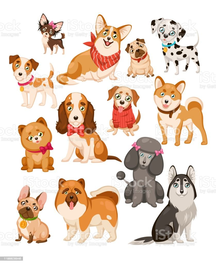 Happy Dogs Cute Puppy Pets And Home Funny Animals Cartoon Isolated Dog Vector Set Stock Illustration Download Image Now Istock