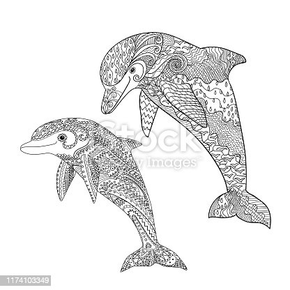 Happy dolphin with high details. Adult antistress coloring page. Black white hand drawn doodle oceanic animal for art therapy. Sketch for tattoo, poster, print, t-shirt Vector illustration