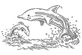 Happy Dolphins In The Sea Drawing