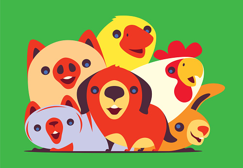 happy domestic animals gathering