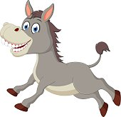 Happy donkey cartoon jumping